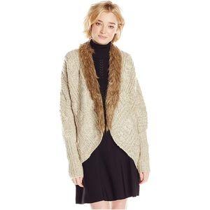XOXO- Tan Sweater w/ Brown Faux Fur